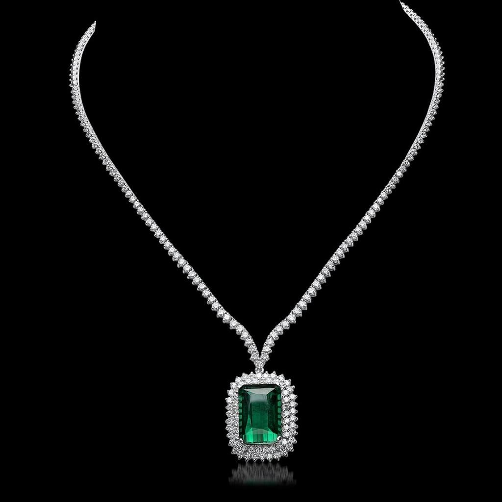 18K White Gold, 21.50cts Tourmaline, 8.05cts Diamond Necklace
