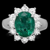 14k White Gold 3.50ct Emerald 1.10ct Diamond Ring