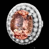 14k Gold 16.20ct Morganite 1.85ct Diamond Ring