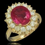 14K Gold 4.23ct Ruby 1.55ct Diamond Ring