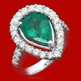 14k Gold 3.70ct Emerald 1.41ct Diamond Ring