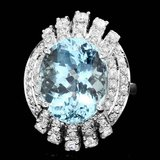 14k Gold 9.00ct Aquamarine 1.25ct Diamond Ring