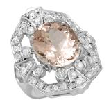 14K Gold 7.28ct Morganite 1.18ct Diamond Ring