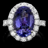 14k Gold 8.00ct Tanzanite 2.10ct Diamond Ring