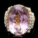 14k Gold 20.40ct Kunzite 0.70ct Diamond Ring
