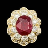 14k Yellow Gold 6.00ct Ruby 2.85ct Diamond Ring