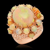 14K Rose Gold, 13.00cts Opal, 2.20cts Diamond Ring