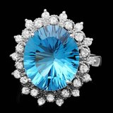 14k White Gold 7.00ct Topaz 0.70ct Diamond Ring