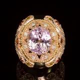 14K Gold 14.78ct Kunzite, 1.40ct Orange Sapphire 1.52ct Diamond Ring