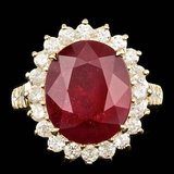 14k Yellow Gold 10.00ct Ruby 1.30ct Diamond Ring
