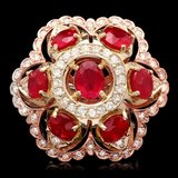 14k Gold 12.00ct Ruby 1.35ct Diamond Ring