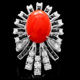 14k White Gold 6.15ct Coral 1.85ct Diamond Ring
