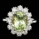 14k White Gold 4.00ct Beryl 1.25ct Diamond Ring