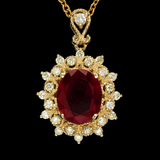 14K Gold 3.91ct Ruby 0.63ct Diamond Pendant