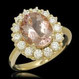 14K Gold 3.23ct Morganite 1.09ct Diamond Ring