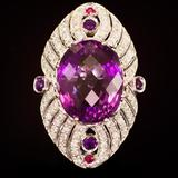 14K Gold 27.00ct Amethyst, 0.08ct Ruby 1.70ct Diamond Ring