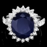 14k Gold 6.30ct Sapphire 1.00ct Diamond Ring