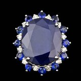 14k White Gold 25ct Sapphire 0.60ct Diamond Ring