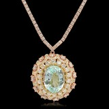 14K Rose Gold, 16.50cts Aquamarine, 11.80cts Diamond Necklace