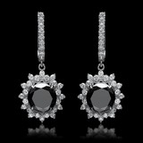 14K White Gold, 9.65cts Diamond Earrings