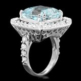 14k Gold 9.50ct Aquamarine 1.90ct Diamond Ring