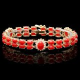 14k Gold 16.5ct Coral 1.20ct Diamond Bracelet