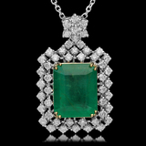 14K Gold 9.35ct Emerald 2.00ct Diamond Pendant