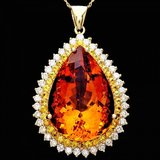 14k Gold 37ct Citrine 1.85ct Diamond Pendant