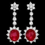 14k Gold 10.00ct Ruby 3.90ct Diamond Earrings