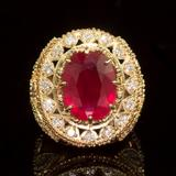 14K Gold 13.63ct Ruby 2.42ct Diamond Ring