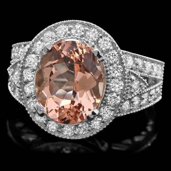 14k White Gold 5ct Morganite 1.40ct Diamond Ring