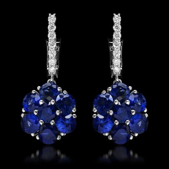 14k White Gold 5.64ct Sapphire 0.58ct Diamond Earrings