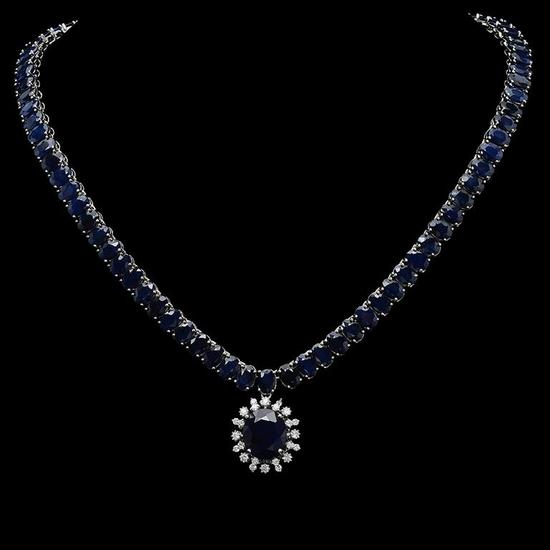 14K Gold 92.04ct Sapphire & 0.92ct Diamond Necklace