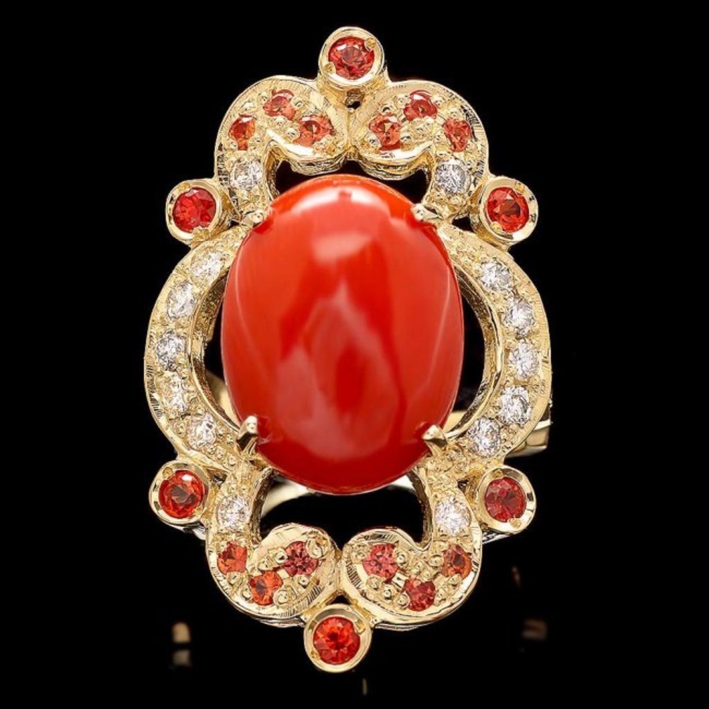 14k Yellow Gold 6.00ct Coral 0.70ct Diamond Ring