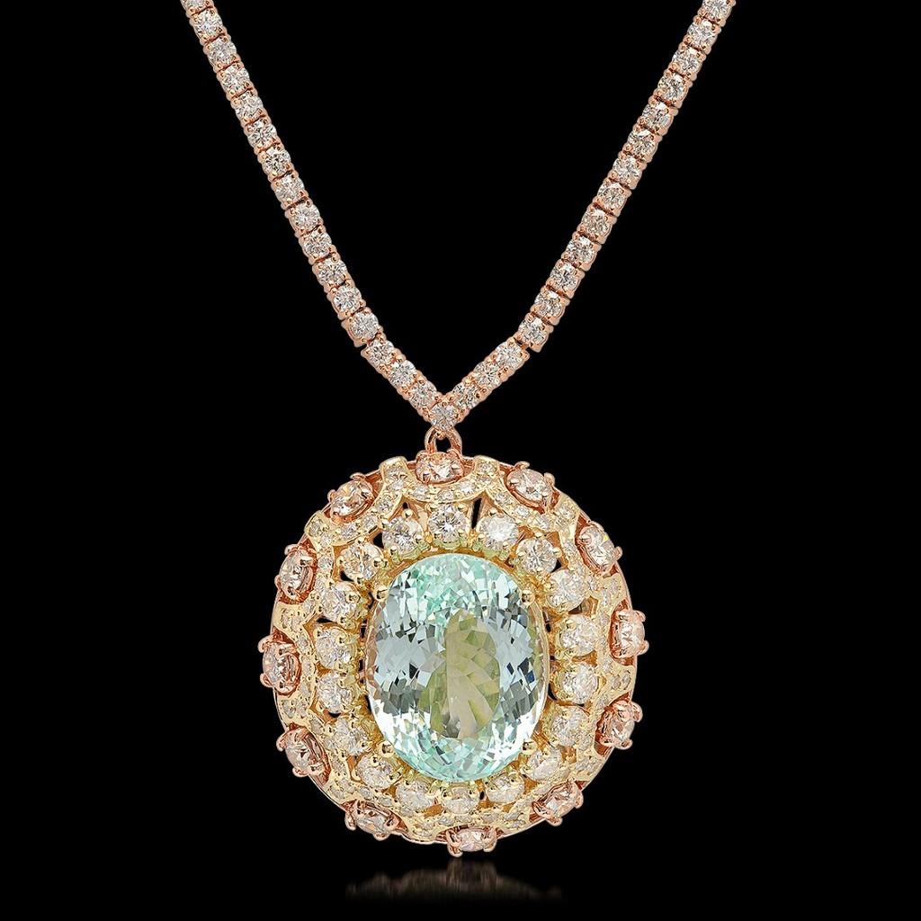 14K Rose Gold, 16.50cts Aquamarine, 11.80cts Diamond Necklace