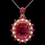 14k Rose Gold 4.6ct Ruby 0.40ct Diamond Pendant