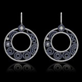 14K White Gold, 9.00cts. Sapphire & 7.80cts. Diamond Earrings