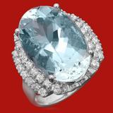 14k Gold 12.01ct Aquamarine 0.90 Diamond Ring