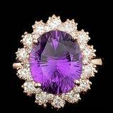 14k Rose Gold 5.50ct Amethyst 1.50ct Diamond Ring