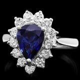 14k Gold 1.46ct Sapphire 0.77ct Diamond Ring