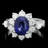 14k Gold 3.00ct Sapphire 1.30ct Diamond Ring