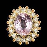 14k Gold 16.50ct Kunzite 1.80ct Diamond Ring