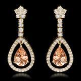 14k Yellow Gold 5.10ct Morganite 2.75ct Diamond Earrings