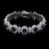 14K White Gold,14.00cts Sapphire & 11.64cts Diamond Bracelet