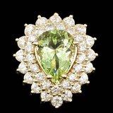14k Yellow Gold 4.00ct Beryl 2.25ct Diamond Ring
