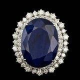 14k Gold 27.00ct Sapphire 2.00ct Diamond Ring