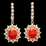 14k Gold 5.20ct Coral 1.50ct Diamond Earrings