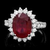 14k White Gold 5.00ct Ruby 1.15ct Diamond Ring