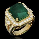 14K Gold 9.94ct Emerald 2.00ct Diamond Ring