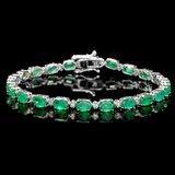 18k Gold 11ct Emerald 0.60ct Diamond Bracelet